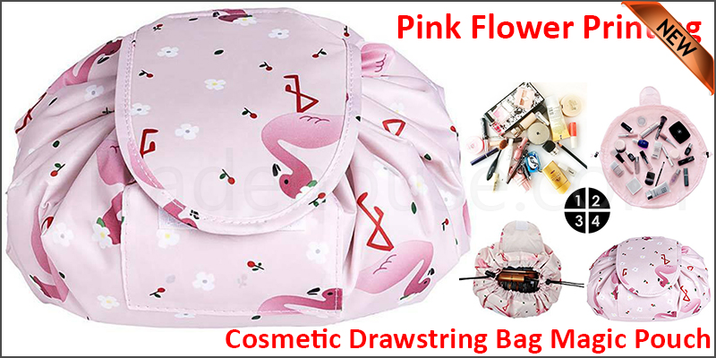 Quick Release Large Capacity Cosmetic Drawstring Bag Magic Pouch Travel Storage (pink flower printing