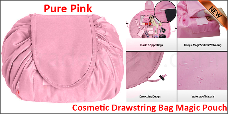 Quick Release Large Capacity Cosmetic Drawstring Bag Magic Pouch Travel Storage (pure pink)