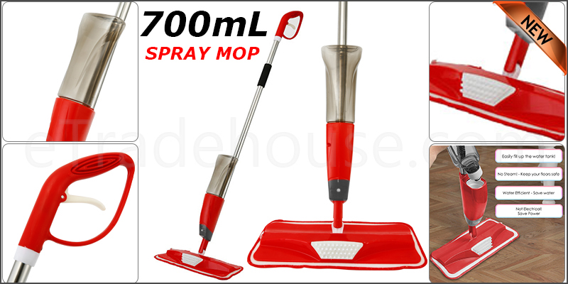 700ml Spray Mop Water Spraying Floor Cleaner Tiles Marble Kitchen Microfiber