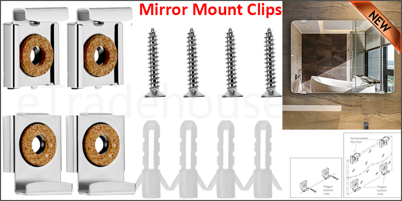 Frameless Unframed Bathroom Mirror Glass Wall Hanging Fixing Kit Clips - Chrome