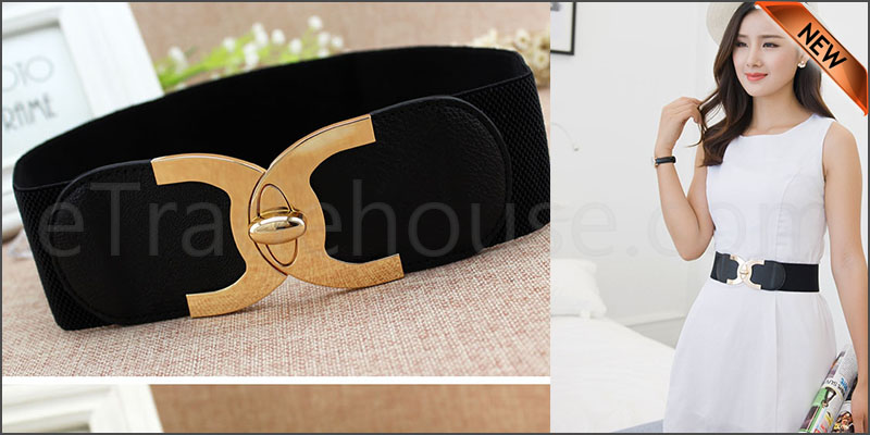 Ladies Wide Fashion Belt Women Black Cinch Waist Belt Elastic Stretch Gift UK