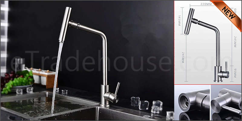 Kitchen Sink Mixer Tap Single Handle Stainless Steel Brushed Nickel Faucet