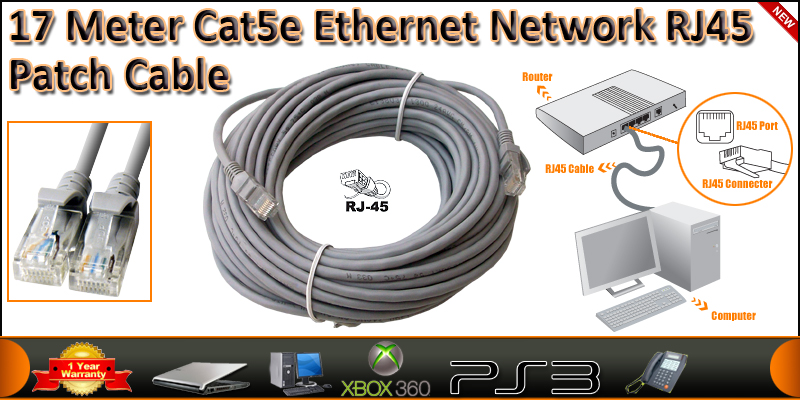 17 Meter Cat5e Ethernet Network RJ45 Patch Cable