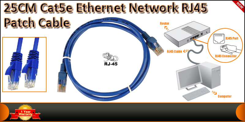 0.25 Meter CAT5E Ethernet Network RJ45 Patch Cable