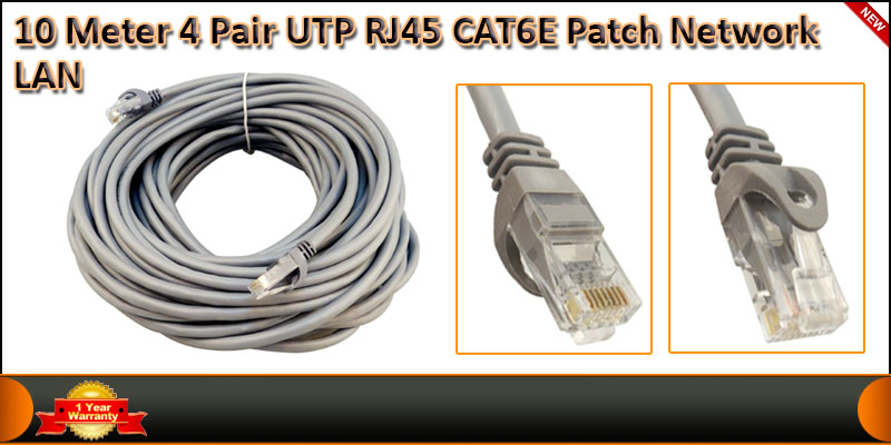 10 Meter 4 Pair UTP RJ45 Cat 6 Patch Network LAN C