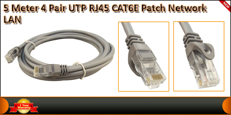 5 Meter 4 Pair UTP RJ45 Cat 6 Patch Network LAN Ca