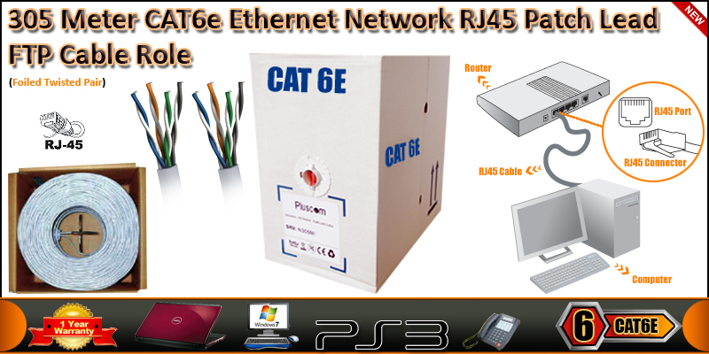 305 Meter 4 Pair STP RJ45 CAT6 Patch Network LAN E