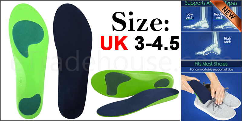 Orthotic Insoles for Arch Support Plantar Fasciitis Flat Feet Back & Heel Pain  Uk  3-4.5