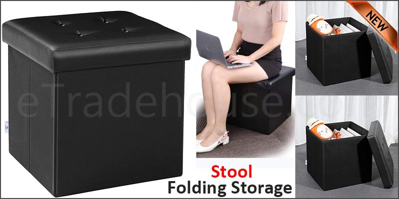 Folding Storage Ottoman Seat Stool Toy Storage Box Faux Leather Pouffe