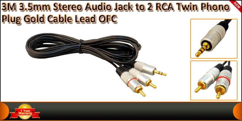 3 Meter Gold Plated 3.5mm Stereo Audio Jack to 2 R