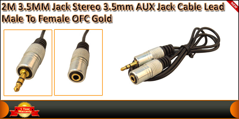 2 Meter Gold Plated 3.5MM Jack Male To Female AUX cable