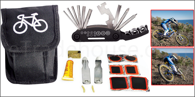 Bicycle Cycling Puncture Bike Multi-Function Tool Repair Kit Set With Pouch