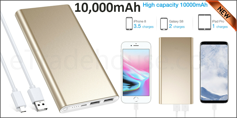 Portable 10,000mAH Dual USB Port External Power Bank Backup Battery Charger