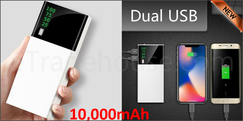 Portable 10,000mAH Dual USB Port LCD LED External Power Bank Backup Battery Charger