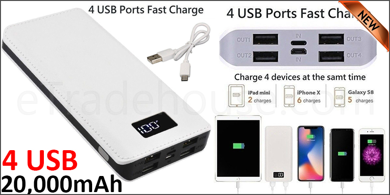 Portable 20,000mAH 4 USB Port LCD LED External Power Bank Backup Battery Charger