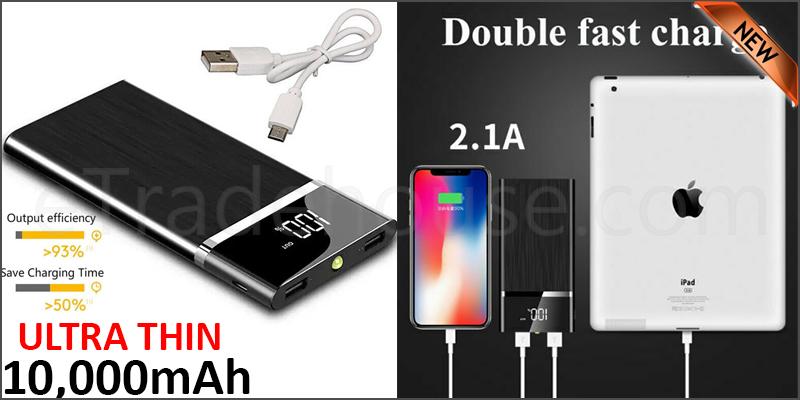 Portable 10,000mAH Dual USB Port Ultra-Thin External Power Bank Backup Battery Charger