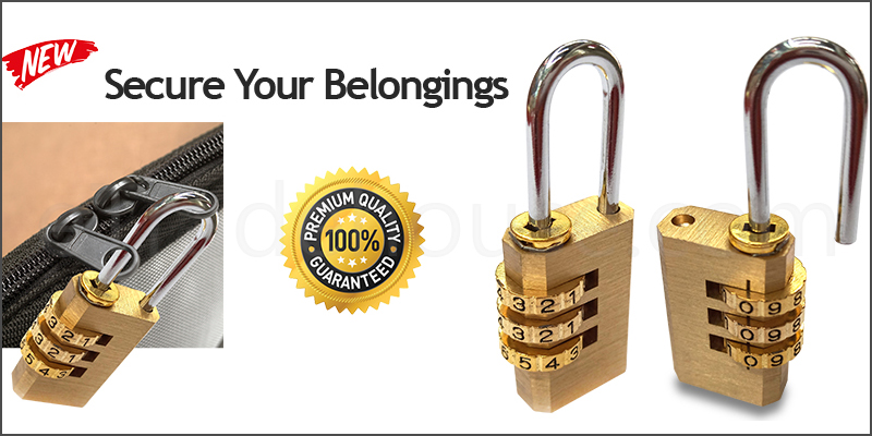 Heavy Duty 3 Digit Combination Brass Padlock Locker Luggage Travel Safety Set