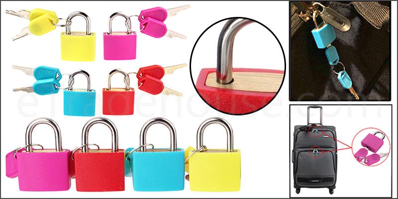 Padlocks 4pc Small Coloured Brass Padlocks Travel Luggage Bag Suitcase Padlock Set
