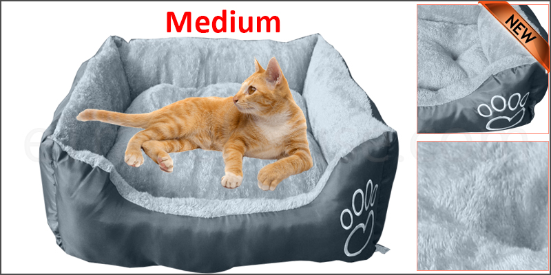 Pet Basket Bed Fleece Soft Warm Comfy Fabric Washable Cat Dog
