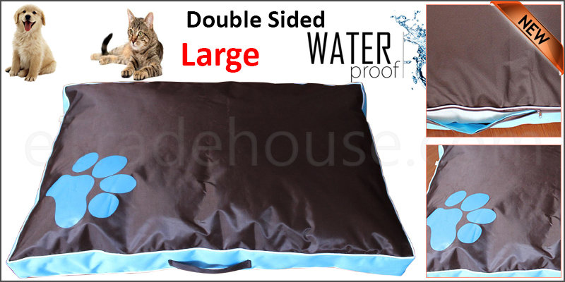 DOUBLE SIDED WATERPROOF DOG PET CAT BED MAT CUSHION MATTRESS WASHABLE COVER L Blue