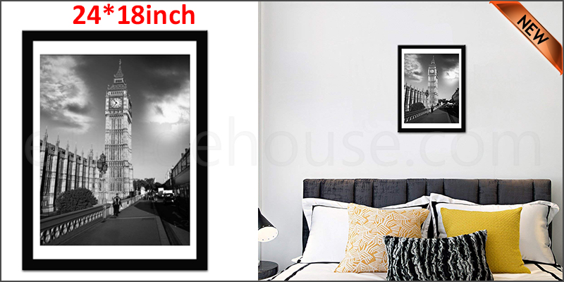 24 x 18 Inches Wall Mounted Picture Photo Poster Frame MDF Board Black
