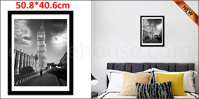 50 x 40cm Wall Mounted Picture Photo Poster Frame MDF Board Black