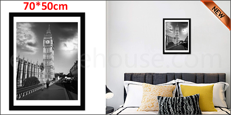 70 x 50cm Wall Mounted Picture Photo Poster Frame MDF Board Black