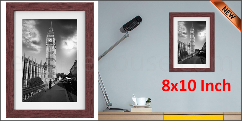 8 x 10 Inches Wall Mounted Picture Photo Poster Frame MDF Board Walnut