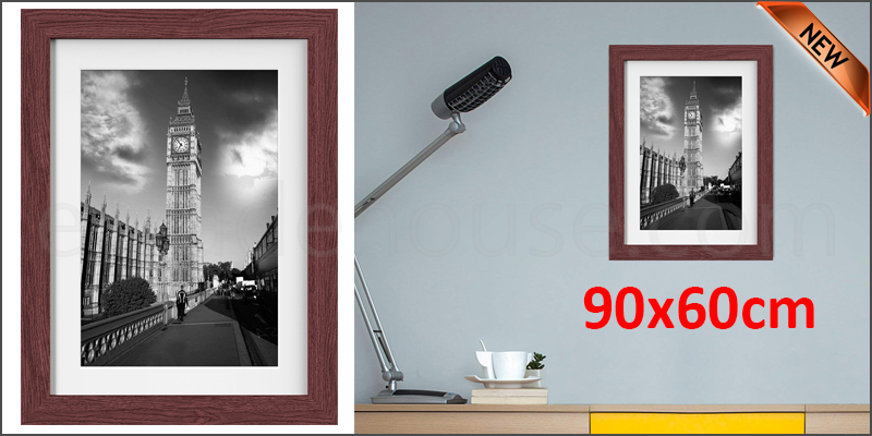 90 x 60cm Wall Mounted Picture Photo Poster Frame MDF Board Walnut