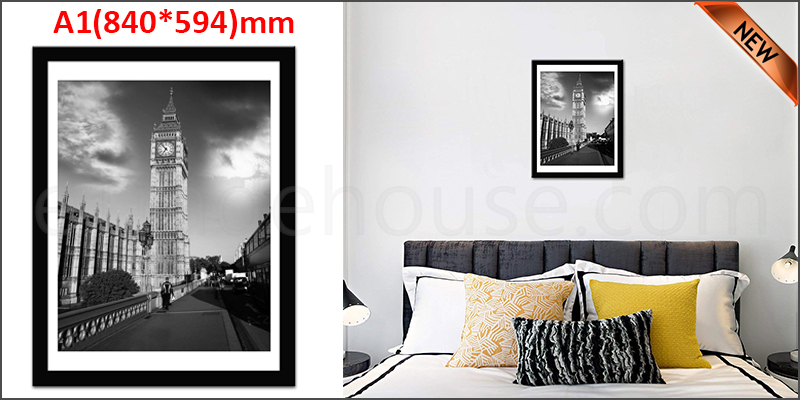 A1 23.4 x 33.1 Inches Wall Mounted Picture Photo Poster Frame MDF Board Black