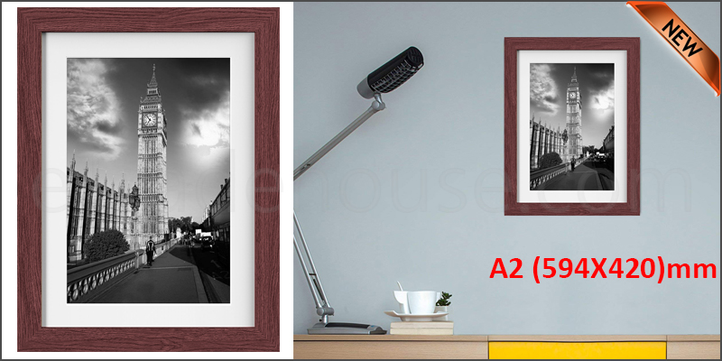 A2 23.4 x 16.5 Inches Wall Mounted Picture Photo Poster Frame MDF Board Walnut