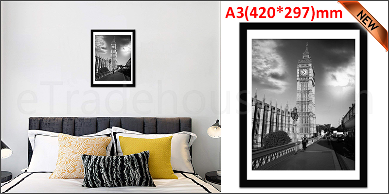 A3 16.5 x 11.7 Inches Wall Mounted Picture Photo Poster Frame MDF Board Black