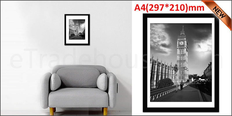 A4 11.7 x 8.3 Inches Wall Mounted Picture Photo Poster Frame MDF Board Black