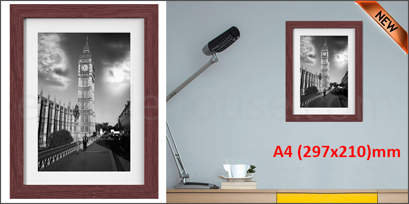 A4 11.7 x 8.3 Inches Wall Mounted Picture Photo Poster Frame MDF Board Walnut