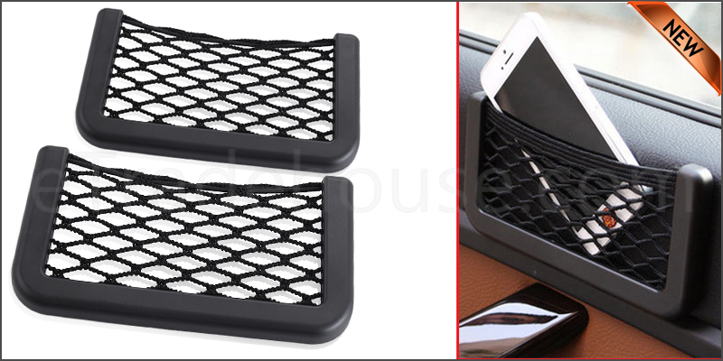 2 x Car Van Storage Pocket Mobile Ecig Cigarette Wallet Holder Net Organiser