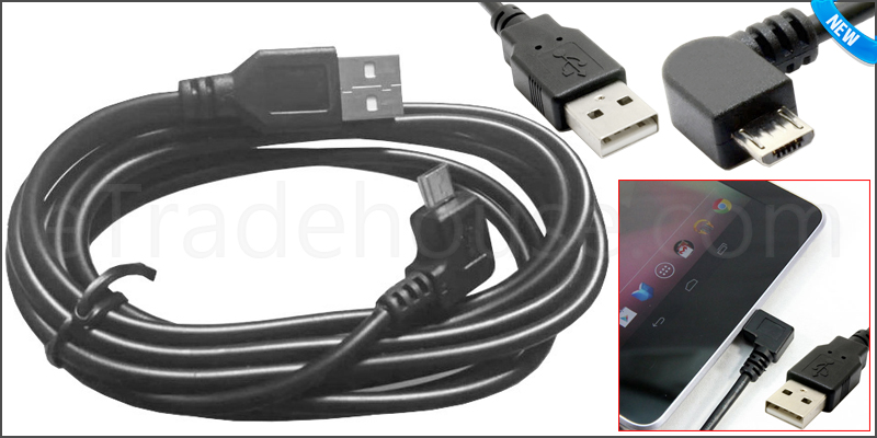 2M USB 2.0 to Right Angle Micro 5 Pin Data Cable &