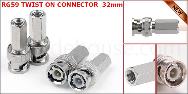 32mm BNC Male Twist Coaxial CCTV Camera Socket Connector (Adapter For RG59 Cable)