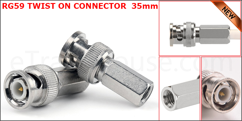35mm BNC Male Twist Coaxial CCTV Camera Socket Connector (Adapter For RG59 Cable)
