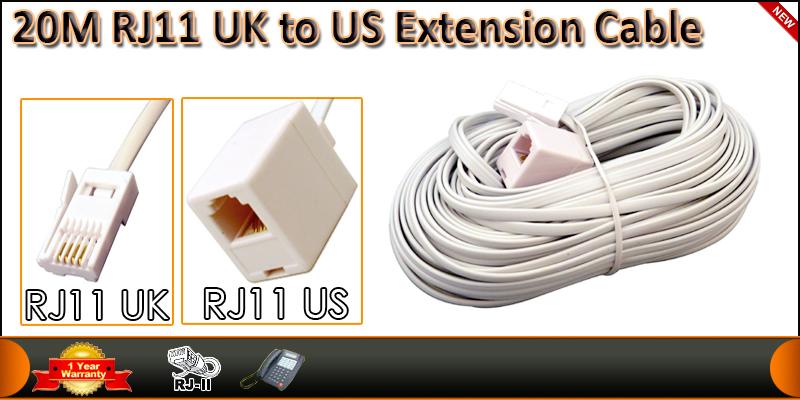 High Quality 20 Meter RJ11 UK Male to RJ11 US Fema