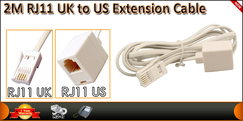 High Quality 2Meter RJ11 UK Male to RJ11 US Female
