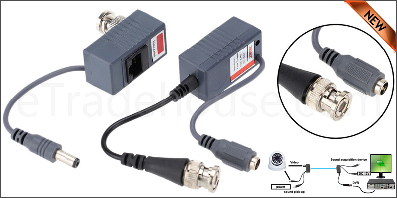 CCTV DVR RJ45 Video Balun Pair With Power UTP Cat5 Cat5e Cat6 Cable Transmit Receiver BNC