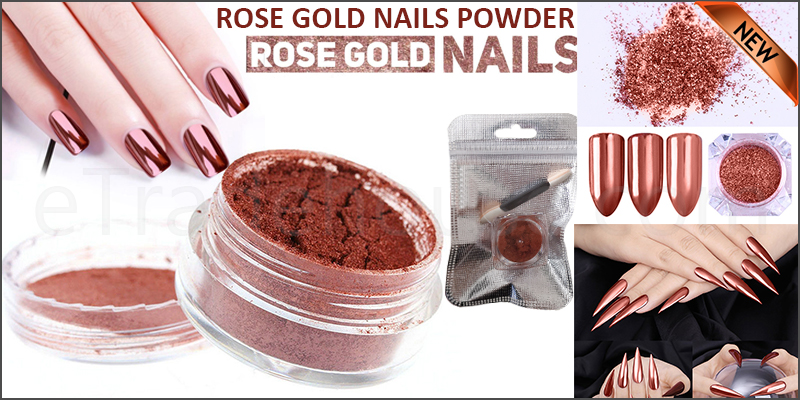 ROSE GOLD NAILS POWDER Mirror Chrome Effect Pigment Nail Art