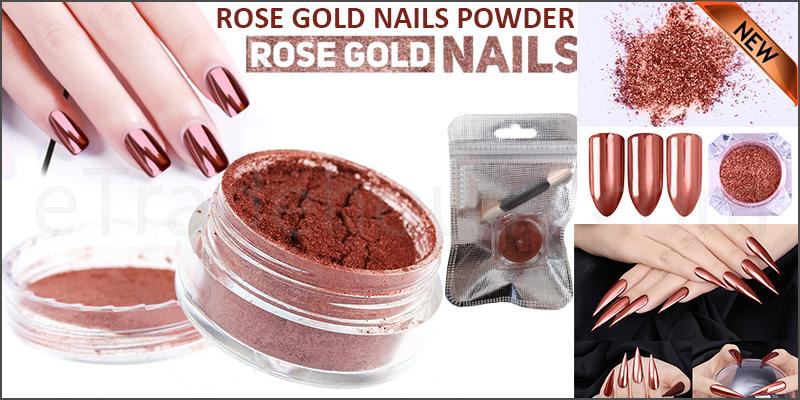 ROSE GOLD NAILS POWDER Mirror Chrome Effect Pigment Nail Art