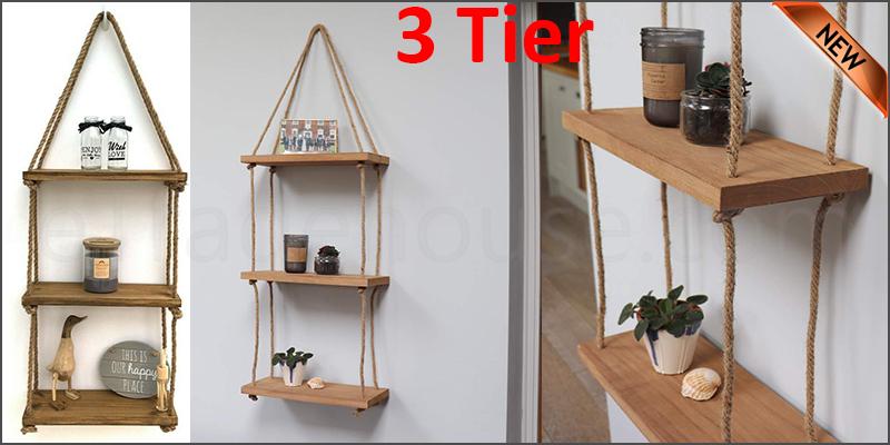 Rustic Wooden Hanging Rope Shelf - Handmade Solid Natural Wood Floating Shelves 3Tier