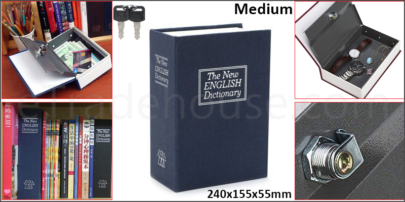 Mini Dictionary Book Safe Security Box Storage Piggy Bank Lock Stash Keys Cash Coin Jewelry Storage Case