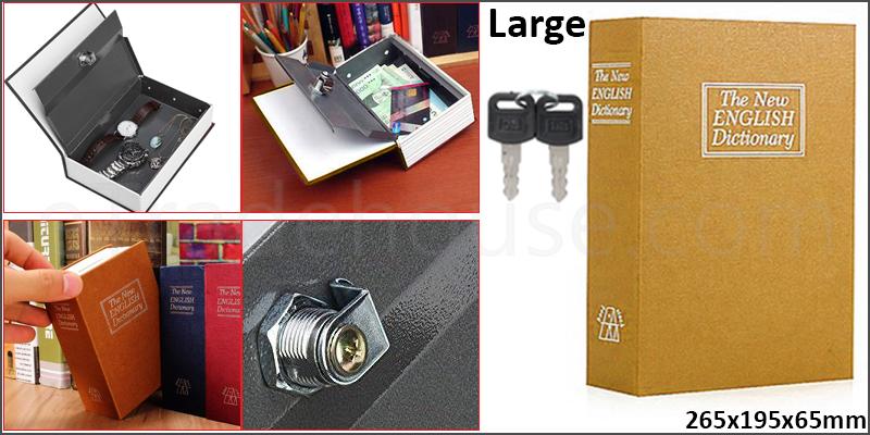 Mini Dictionary Book Safe Security Box Storage Piggy Bank Lock Stash Keys Cash Coin Jewelry Storage Case