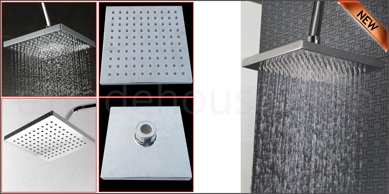 "8"" Large Square Chrome Plated Bathroom Rain Water"