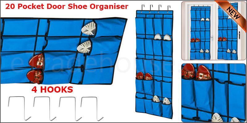 20 Pocket Hanging Over Door Shoe Organiser Storage Rack Tidy Space 4 HOOKS Saver