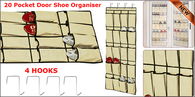20 Pocket Shoes Organiser Rack Storage Hanging Over Door Tidy Space Saver 4 HOOKS
