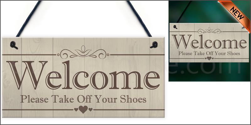 Welcome Please Take Off Your Shoes Hanging Plaque Sign House Porch Decor Gift